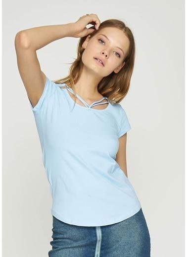 Tiffany&Tomato Önü İp Detaylı Basic T-Shirt Mavi